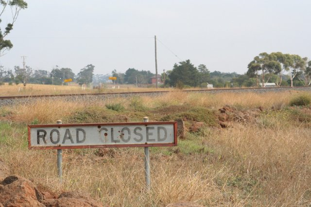 Road closed at the railway line on the former alignment of Greigs Road