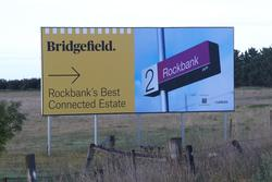 Advertising sign for the 'Bridgefield' estate at Rockbank
