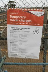 'Temporary travel changes' poster on the platform