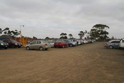 Temporary gravel car park on the southern side