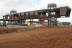 Lifts wells and stairs in place to the pedestrian overpass