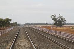 Track duplication yet to be tied into the existing double track at Rockbank