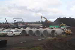 Stockpile of pipes, dirt and steel at Rockbank