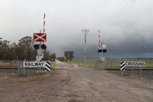 Looking east over the Rowsley Station Road level crossing