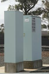 'Advanced Active Warning Signal' (AAWS) equipment boxes at the Bungaree-Wallace Road level crossing in Wallace