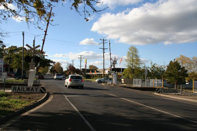 Looking north over the Forest Street level crossing