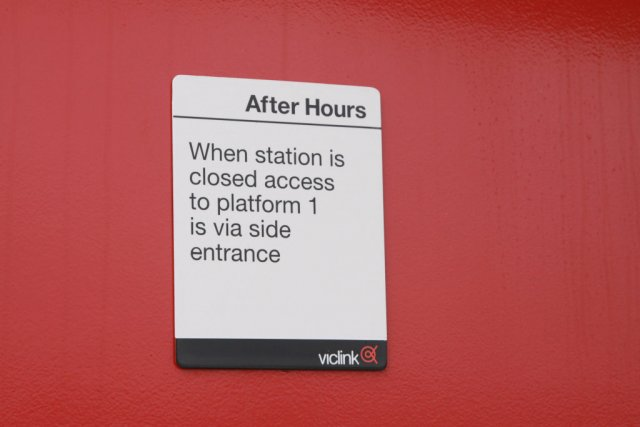 Sign pointing out the after hours access
