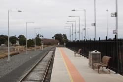 Down end of the platform, signal cleared for an Ararat train