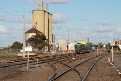 Cement and container wagons stabled in the yard from PN's Mildura train