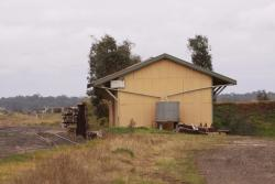 Looking north at the goods shed and dead end number 3 road