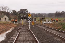 Removed points at the up end, part of the loop slewed across for new level crossing signage