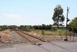 Terang - Framlingham Road level crossing looking up, Mortlake track was on the left
