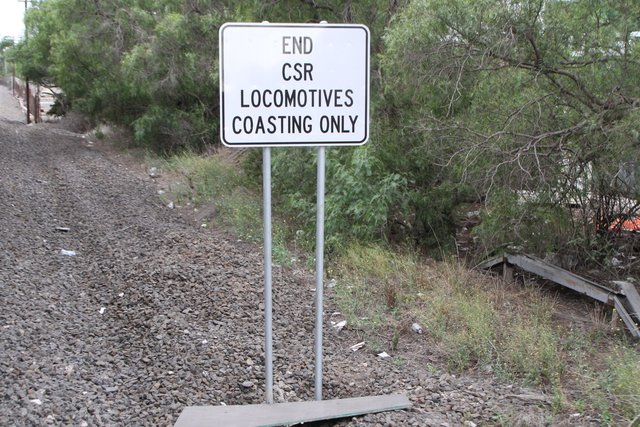 'End CSR locomotive coasting only' sign for up trains departing the Francis Street level crossing