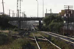 Little Brooklyn: Looking up the line at the disused 'Little Brooklyn' loop siding between Francis Street and Geelong Road, a stub leads off into the Sadleirs Transport yard