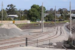 Entry to the Sadleirs Logistics depot: three tracks become one, plus a stub to a future siding