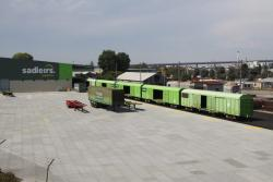 Rake of RLUY louvred vans in the Sadleirs Logistics siding