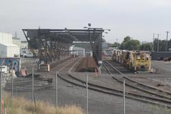 Spotswood Depot: Dual gauge tracks at the Anzac Sidings flashbut rail welding siding