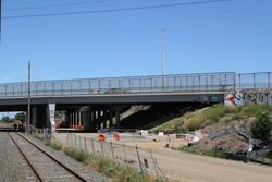 West Gate Freeway: Northern side of the West Gate Freeway overpass being expanded