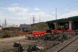 West Gate Freeway: Southern side of the West Gate Freeway overpass being expanded