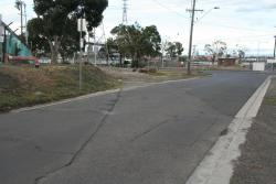 Former crossing of Burleigh Street looking north to Holden oil dock