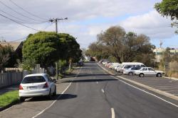 Looking east on Raleigh Street, apparently the car parking will go to make room for the goods lines to be slewed north