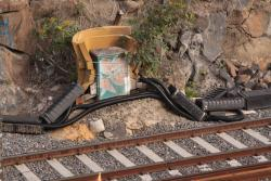 Foam rubber protects a signalling cable box at the bottom of the cutting