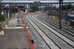 Suburban tracks on their new alignment, making room for the RRL track pair