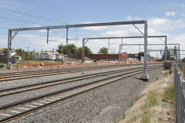Looking towards Middle Footscray with the suburban tracks on their new alignment