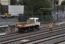 Hi-rail tip truck at work on the new RRL tracks
