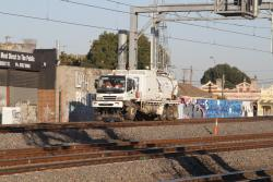 Hi-rail suction excavator truck at work on the new RRL tracks