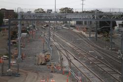 Crossovers at the down end of Sunshine, for Bendigo trains to access the new RRL tracks