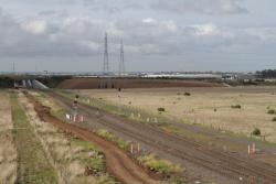 Looking east along the Ballarat line from the Christies Road extension