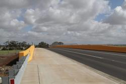Completed road over rail bridge at Dohertys Road