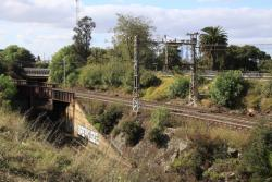 Looking south-east: suburban tracks pass over the top of the Bunbury Street goods lines