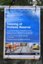 Notice of the closure of Footscray's Railway Reserve until 2015