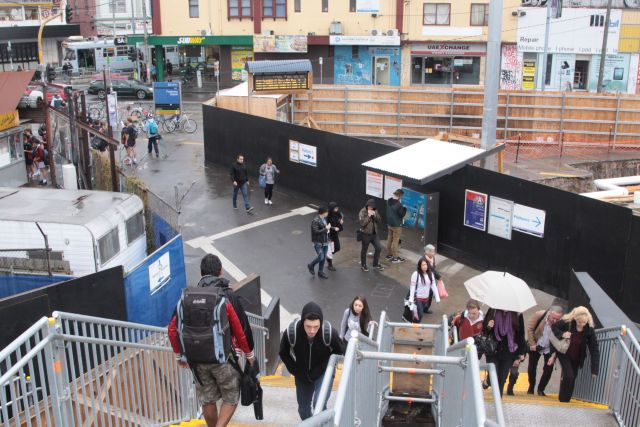 Temporary staircase linking the station footbridge to Irving Street