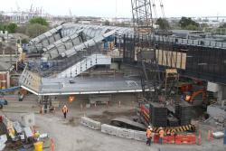 Footscray Station: Roof panel ready to be lifted in place over the platform 1 staircase