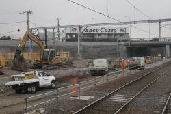 Footscray Station: Clearing the remains of the former suburban tracks at the up end