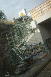 Footscray Station: Western end of the new concrete deck over the low level goods line