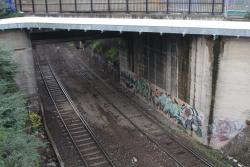 Looking down to the goods lines beneath Footscray station, from platform 4