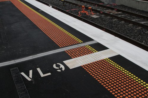 'VL9' - nine-car VLocity set stopping mark on the RRL platform at Footscray