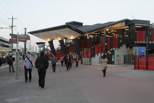 Completed entrance to the station off Irving Street