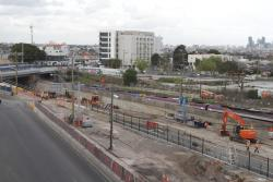Hopkins Street, Footscray: Excavating the future suburban track pair towards the extended bridge