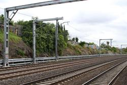 Hopkins Street, Footscray: Cantilevered overhead gantries for the Sunbury line tracks