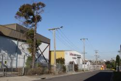 Joseph Road precinct: Looking east past industrial buildings on Neilson Place, most have been acquired