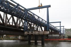 Launching truss in place across the river