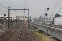 Maribyrnong River viaduct to the south of the suburban track embankments