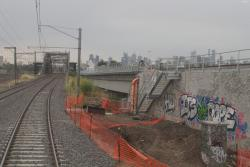 Western end of the Maribyrnong River viaduct transitions to a high embankment