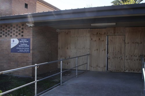 Boarded up doors at the Footscray Senior Citizens' Centre