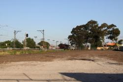 Compulsorily acquired properties at Middle Footscray: Back fences all gone, with nothing blocking the railway line